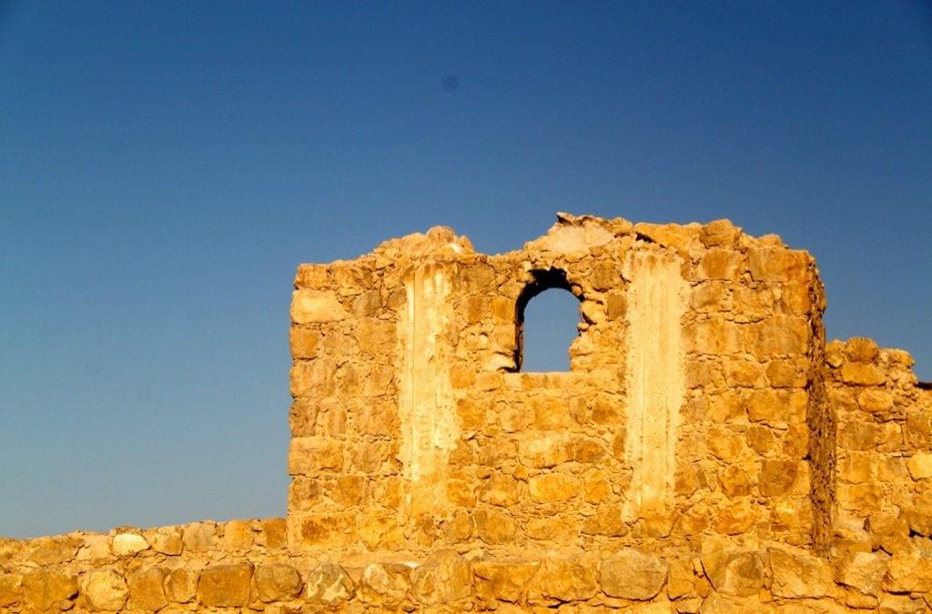 Una rovina di Masada all'alba