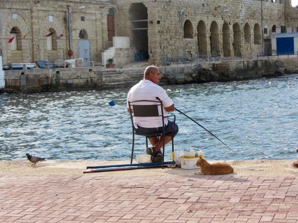 Un pescatore e un gatto sul molo di Valletta