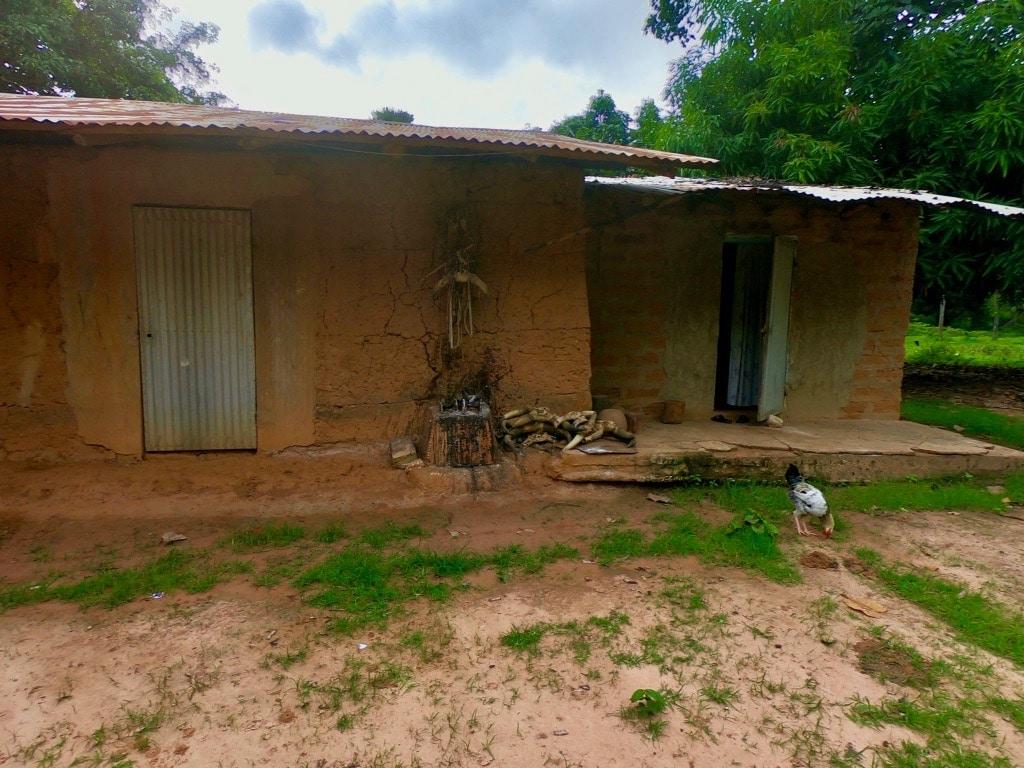Un feticcio animista in Casamance sulla parete di una casa con una gallina di fianco