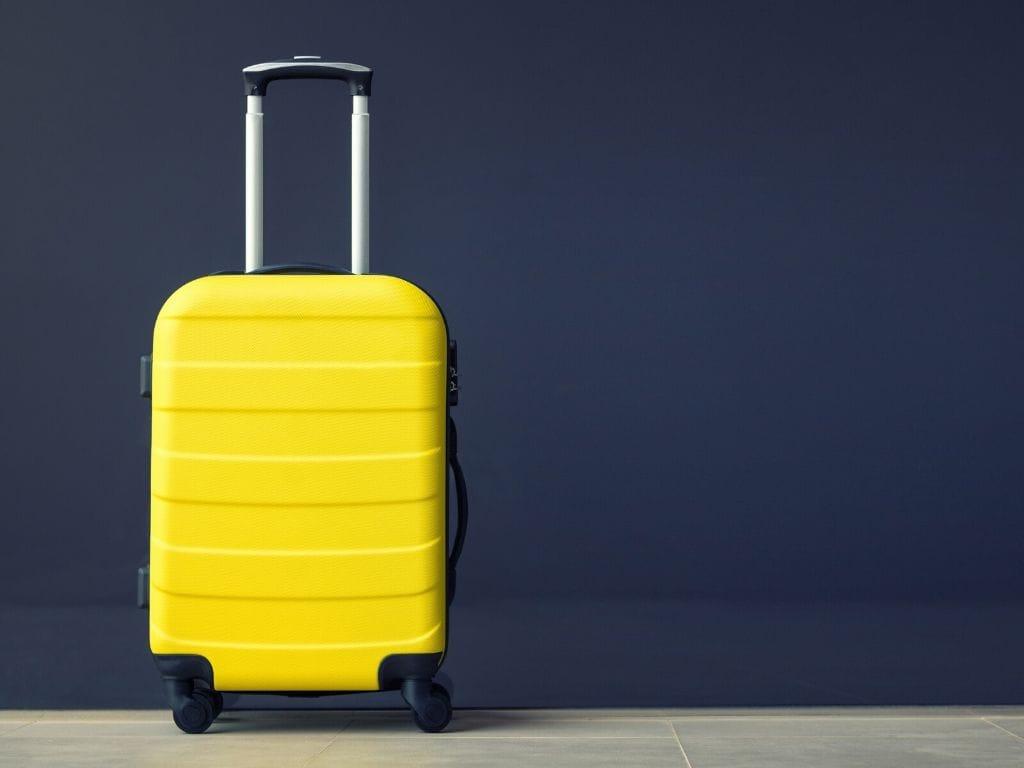 valigia leggerissima per aereo gialla